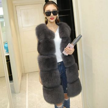 Brand Faux Fur Vest Winter Warm Long Women Faux Fox Fur Vest Furry Slim Woman Fake Fur Vest Plus Size Fur Vests High Quality