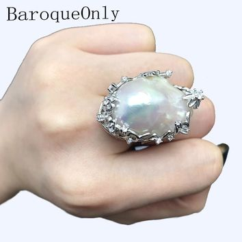 BaroqueOnly natural freshwater pearl 925 Silver Ring 15-31mm huge Size high gloss Baroque Irregular Pearl Ring, Women Gifts RA