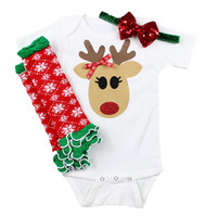 Reindeer Baby Girls Christmas Outfit with Leg Warmers and Sparkly Bow on Headband   Snowflake Reindeer baby leg warmer Christmas Outfit