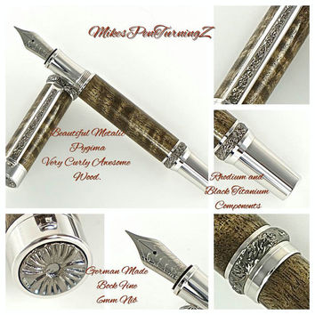 Custom Wooden Pen Fountain Pen Handcrafted Curly Metalic Pyinma Beautiful Rhodium and Black Titanium Hardware 757FPW