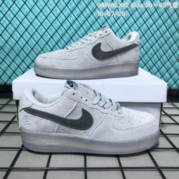 HCXX N177 Nike Air Force 1 Low Suede Velcro Fashion Causal Skate Shoes Grey