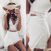 V-neck Sleeveless Blouse Shorts Tassel Two Pieces Set