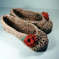 Red Rose Cotton Slippers, Crochet | Luulla