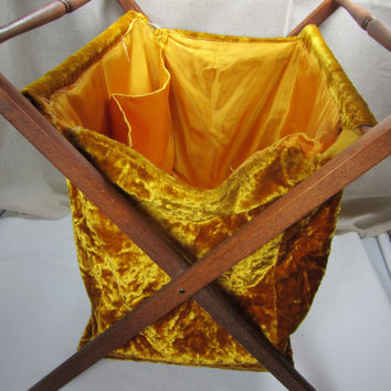 Knitting Bag with Stand Vintage Yarn Caddy Vintage Knitting Caddy Crushed Gold Velvet Bag
