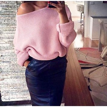 Winter New Women's Sexy Off-Shoulder Solid Color Long Sleeve Sweater 2#