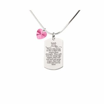 Isaiah 40:31 Tag Necklace With Pink Swarovski Crystal