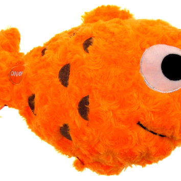 "Orange Fish Pillow Color LED Light Up Flash Plush 12"" Microbeads Home Bed Decor"