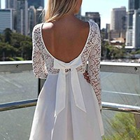 Lace Bow Backless Love Heart Party Short Dress