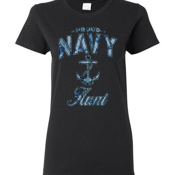 Proud Navy Aunt Women's T-Shirt (Camo)