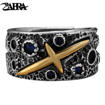 ZABRA Vintage Pure 925 Silver Starry Sky Ring For Men Blue Cubic Zirconia Brass Sterling Silver Rings Punk Jewelry For Female