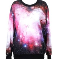 Indrah Neon Galaxy Colorful Patterns Print Sweatshirt Sweaters (Free size, Azarin)