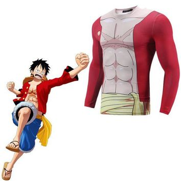 DCCKH6B ONE PIECE Monkey D Luffy Cosplay Costume 3D Print T-shirt Japanese Anime 3D Printed T-shirt  Clothes