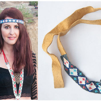 Tribal Beaded Hatband or Headband / Peyote Stitch Native American Beadwork Genuine Leather / Vintage Seed Bead HeadBand Jewelry Accessories