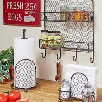 Country Kitchen Decor Collection Farmhouse Chicken-wire Rustic Primitive NEW