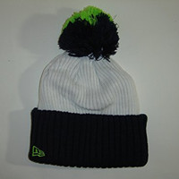 New Era NFL Seattle Seahawks 2 Tone Neon Cuffed Knit Beanie with Pom NewEra