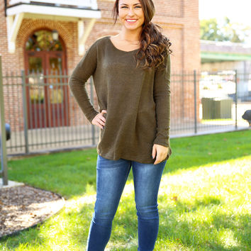 Piko Scoop Neck Sweater - Army
