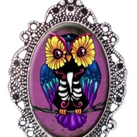 Sugar Skull Owl Cameo Necklace