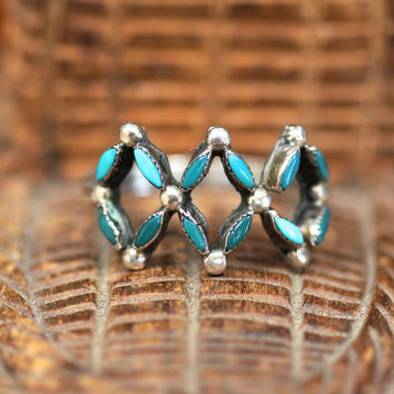 Needlepoint Turquoise Ring Sterling Silver Zuni Stacking Boho
