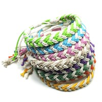Adjustable Woven Chevron Bracelet, Tropical Colors