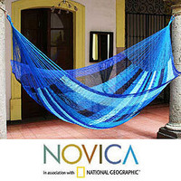 Hand-woven Large Deluxe Blue Caribbean Hammock (Mexico) | Overstock.com