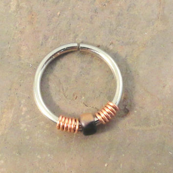 Black and Copper Cartilage Hoop Earring Septum Tragus Nose Ring Upper Ear Piercing 20 GaugePink