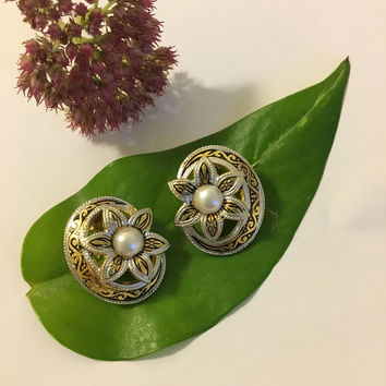 Damascene Earrings Vintage Gold Silver Black and White Earrings With Flower and White Faux Pearl Spanish Design Stamped Jewelry Mid Century