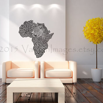 Map Of Africa With Cheetah Image Wall Decal, Wall Sticker, Leopard Print  Wall Decal Part 91