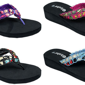 women's jeweled platform flip flops Case of 48