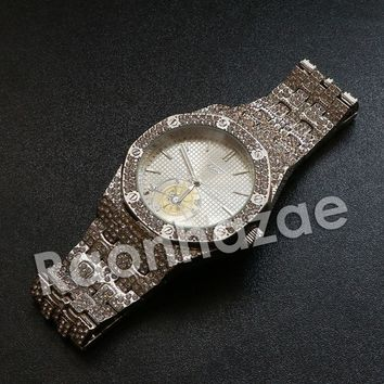 Iced Out Hip Hop Silver Techno Pave Wrist Watch