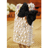 Galaxy S4 S3 Note II Phone Cover 3D Stylish Black Bow Pearls Phone Case for Girls