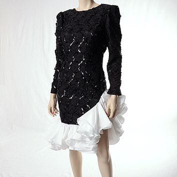 Vintage 80s Sexy Bodycon Lace Prom Dress 1980s Asymmetrical Ruffle Black and White Sequin Embellished Dallas Dynasty Cocktail Party Dress S