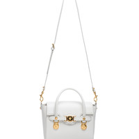 Small Satchel in White & Gold
