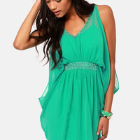 Dressy's Girl Sea Green Beaded Dress