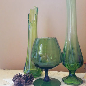 Viking Green Glass Vase Trio with Brandy Snifter Mid Century