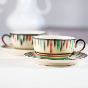 Pair of Tea Cups and Saucers: Vintage Fine China Colorful Porcelain, Marked Tcheco-Slovaquie