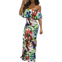 Off the Shoulder Floral Print Maxi Dress Women Sexy Slash Neck Ruffles Floor Length Long Bodycon Dresses Vestido Robes de festa