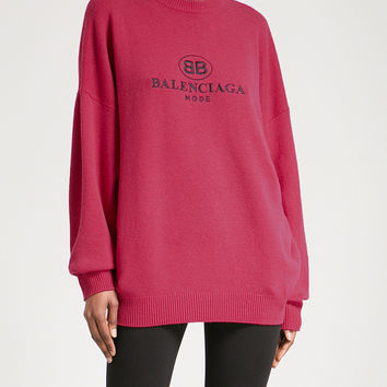 BALENCIAGA Logo-embroidered wool-blend sweater
