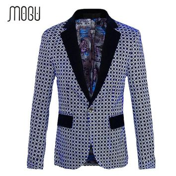 MOGU 2017 New Blazer Men Fashion One Button Center Vent Men Blazer Slim Fit Large Size M-5XL Blazer in Men Costume Homme