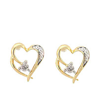 Lord & Taylor 14 Kt. Yellow Gold Heart Earrings with Diamond Accents