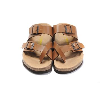 classic birkenstock summer fashion leather cork flats beach lovers slippers casual sandals for women men couples slippers color brown size 36 45-4