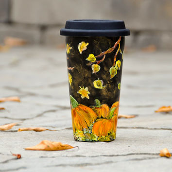 Pumpkins and leaves Black Ceramic Travel Mug - Hand Painted Fall decor Eco cup - Porcelain Mug with Lid - Insulated Tumbler