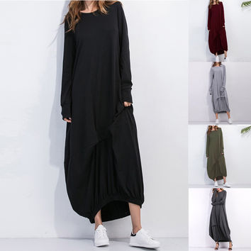 Ukraine Women Spring Oversized Dress long Sleeve pregnancy Pregnant loose punk Gothic Vestido long maxi dress black wine red XL