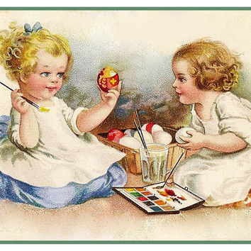 Vintage Easter 2 Girls Painting Easter Eggs Counted Cross Stitch or Counted Needlepoint Pattern
