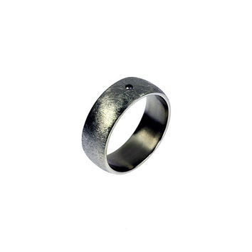 Scratched white gold wedding band, black diamond ring, wide wedding ring, unique, men's wedding band, men modern ring, contemporary, gothic