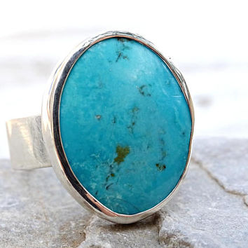 large turquoise ring silver, Nevada turquoise mens ring, blue turquoise ring silver, big gemstone ring, mens silver ring anniversary gift