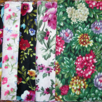 Destash Quilting Fabric, Pink and Green Floral Fat 1/8's, 8 pieces for 1 yard total fabric, Home Decor Destash Fabric, Quiltsy Destash Party