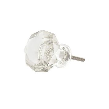 Set of 4 Clear Cut Glass Knobs or pulls