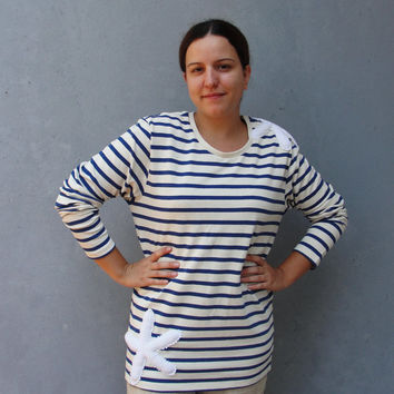 Striped Navy Blue Sweater Top with Vintage Handmade Lace, Bohemian Top Size Medium/ Large