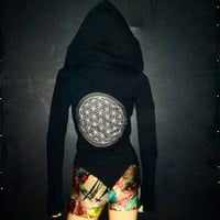 Cropped Mandala Hoodie // ORGANIC COTTON // Flower of Life
