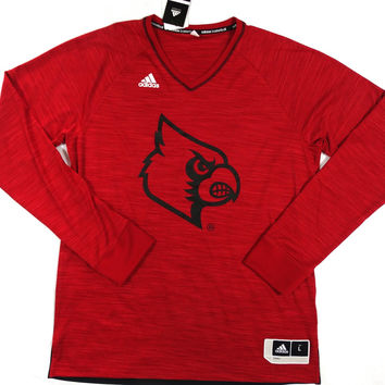 Louisville Cardinals Adidas ClimaLite Performance Long Sleeve V Neck T Shirt Size L